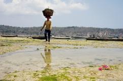 Une fermière, sous le chaud soleil de midi, à Nusa Lembongan.